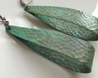 Large Hoop Earrings  Bohemian Earrings  Patina Earrings  Verdigris Patina  Boho Earrings  Long Dangle Earrings  Gypsy Dangles