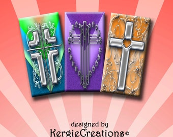 CROSSES  -  Digital Collage Sheet 1x2 inch domino images for pendants, rectangle bezel settings, magnets.  Instant Download #213.