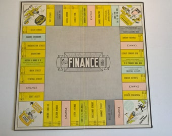 Vintage Finance Game Board --- 1950's Nostalgic Toy --- Americana Home Decor --- Retro Art Deco Wall Curiosity Colorful Cartoon Game Room