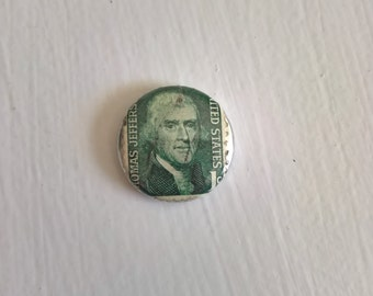 Thomas Jefferson Stamp Vintage Postage Pinback Button - American History Founding Father Presidential USA Colonial Style Accessory Lapel Pin