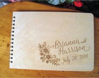 Wooden Wedding Guest Book, Engraved Guest Book, Custom Wedding Guest Book,  Brianna