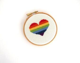Rainbow heart decor, cross stitch hoop art, boyfriend gift, girlfriend gift, valentine's day decor, nursery decoration