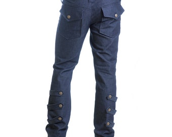 Last One! XL Classic blue cotton denim pants with NYC buttons streetwear - Limited Edition, handmade in Italy