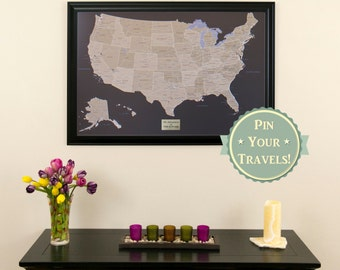 Personalized Executive US Travel Map With Pins And Frame - Childrens us pushpin map
