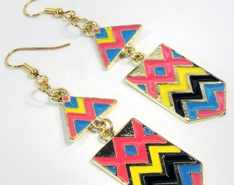 Gold 80's Style Chevron Dangle Earrings - Pink, Blue, Yellow, Black Chevron Pattern - Handmade by Lindsey