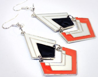 Black, White, Orange, and Silver Chevron Dangle Earrings Handmade by Lindsey