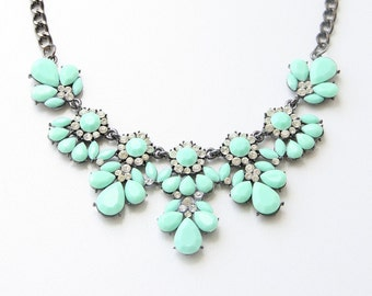 Party Necklace, Light Turquoise Flower Necklace, Women's Jewelry, Bridal Necklace, Wedding Jewelry, Tiffany Blue Necklace