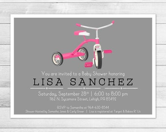 Vintage, Classic Tricycle Baby Shower Invitation, Girl Digital Printable Invite, Trike Baby, Pink