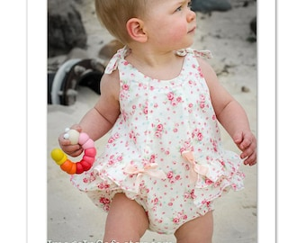 Romper sewing pattern, baby romper pdf sewing pattern sizes 3 months to 3 years, ROSE BUD ROMPER by Felicity Patterns