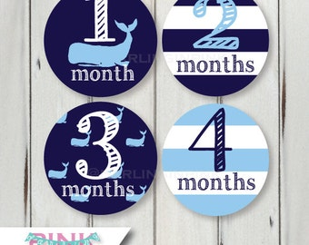 Preppy Whale Baby Blue & Navy Monthly Milestone Stickers – Bodysuit 1-12 months, 13-24, 1-24 Nautical Rugby Stripes Belly Stickers -Pink too