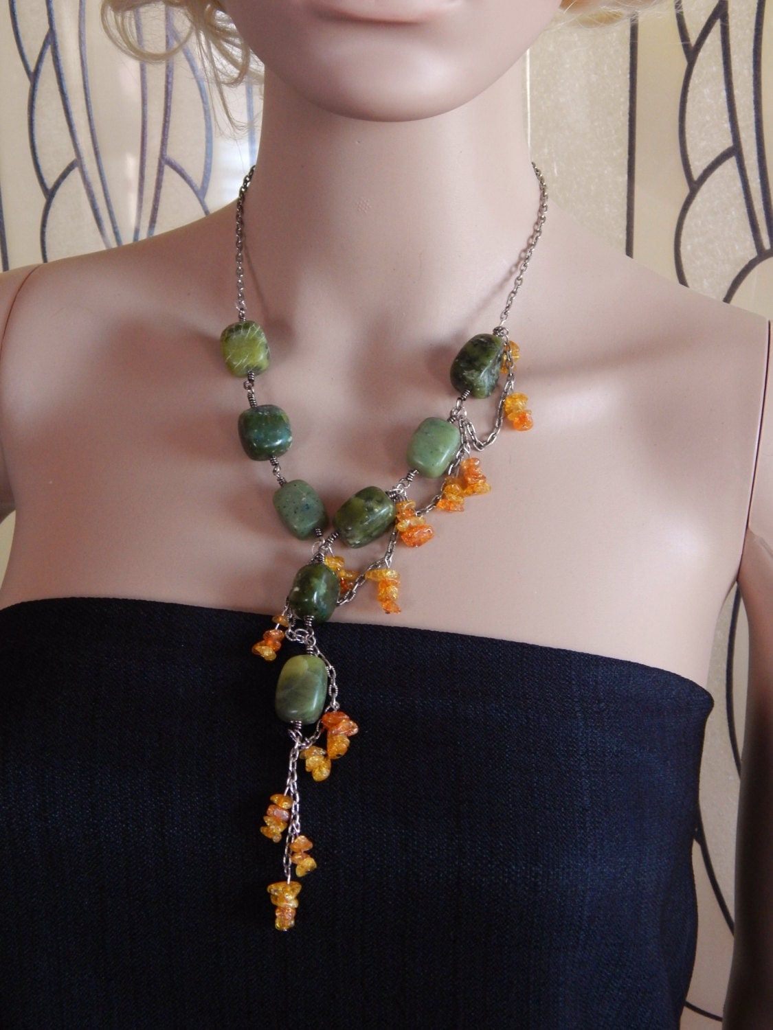 Cascading Serpentine Necklace Green and Orange Necklace Semi  Cascading Serpe...