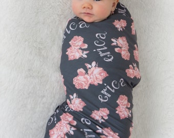 Personalized Swaddle Blanket - Vintage Floral Design – Baby Name Blanket / Hat / Headband / Customized Blanket Set