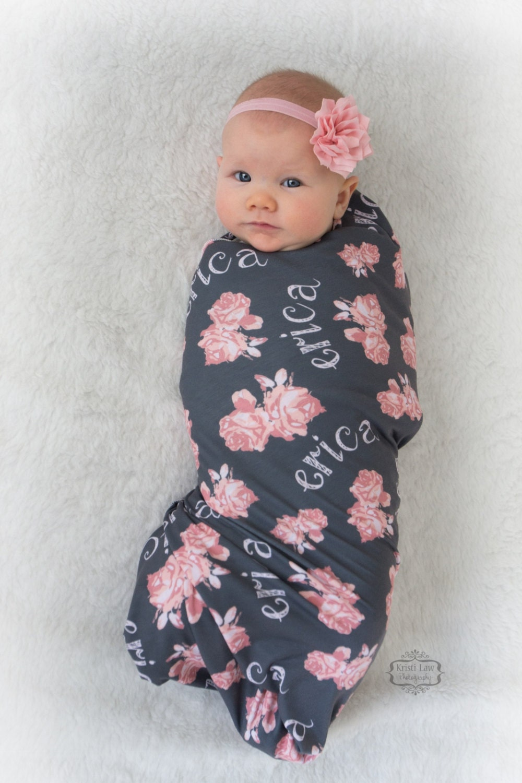 Personalized Swaddle Blanket Vintage Floral Design Baby
