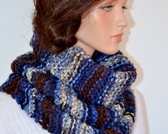 Snood Scarf, Knit Neckwarmer, Knit Cowl Scarf, Snood Cowl, Women and Men Lakeside Snood