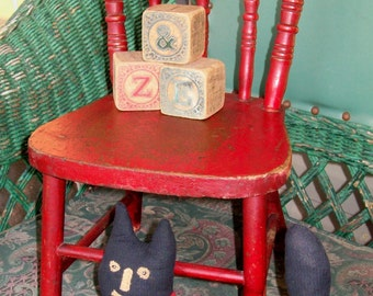 Primitive  Vintage Little Red Chair Antique