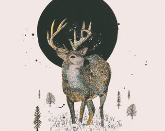 Woodland Forest Series, Illustration Art Giclee Print 'Deer & Moon'