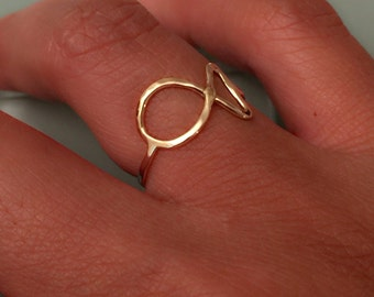 Fish ring, 14k fish ring, 14k/10k fish ring