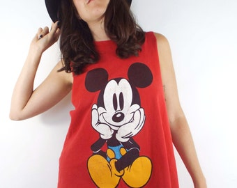 Vintage 90s Red Mickey Mouse Cropped Muscle Tee