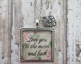Love You To The Moon And Back Vintage Rose Glass Pendant Necklace With Heart Charm