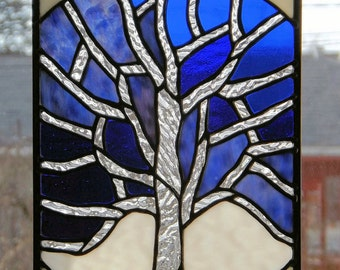 Stained Glass Tree Panel Clear Textured  Glass  Blue Purple White Original Glass Art