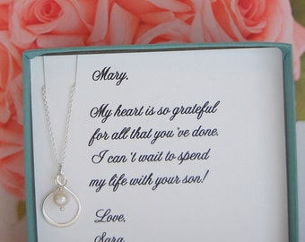 Mother of the Groom Gift, Pearl Infinity necklace and chain, sterling silver, wedding jewelry, Thank you gift to Mom