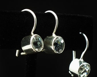 White Topaz 6mm Sterling silver bezel set earrings, summer easy, Simple, good color, 925, hand made USA, Free Shipping