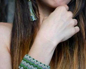 Cuff Bracelet / Green Macrame Bracelet / Fiber Jewelry / Tribal Chevron Jewelry / Geometric Bracelet