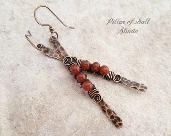 Wire wrapped Stick earrings / copper earrings / Red Carnelian gemstone / wire wrapped jewelry handmade / boho jewelry / Hammered copper