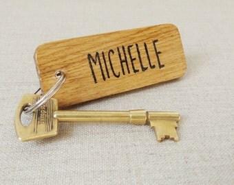 Personalised Keyring - Oak Wood Keyring - Name Keyring - keychain - Key Fob - Rustic wood - Personalised Gift - Gift for Her - Gift for Him