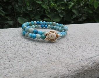 Stone Turtle Memory Wire Bracelet