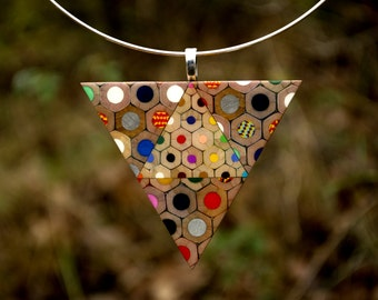 Triangle necklace from colored pencils