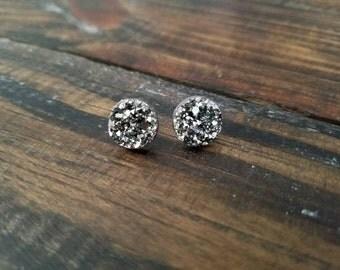 Metallic Gunmetal Faux Druzy Stud Earrings - 12mm