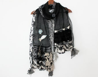 Black scarf, Black linen scarf, Black Women Shawl, Black scarf design, Black Christmas gift, Black scarf, black lace scarf, Woman scarf
