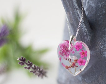 real flower necklace purple heart gifts for by