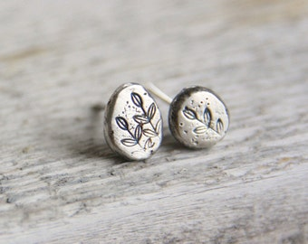 Fossil Silver Stud Earrings / Handmade Stamped Earrings / Leaf Vine  / Organic Silver Pebble Studs / Eco Friendly Silver / Gift for her