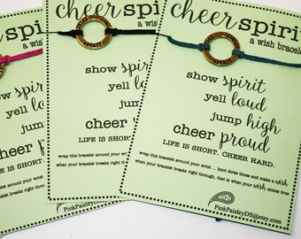 14 Cheer Spirit Wish Bracelets ... Great for Team Spirit ... Cheerleading Team Gifts ... School Spiirit