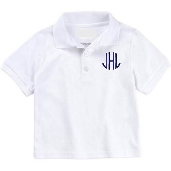 Monogrammed polo shirt knit uniform monogram toddler boys for Personalized polo shirts for toddlers
