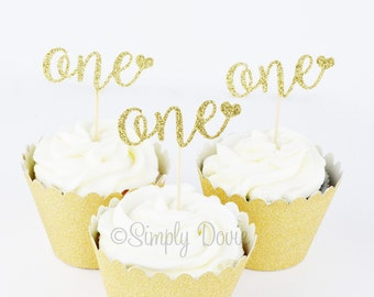 One Cupcake Topper Picks - One Gold Glitter Cup Cake Topper with Heart - First Birthday