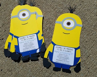 One Eyed Minion Invitations, Despicable Me Inspired, Minions, Minion Party, Diecut Minions, Minion Invitations, Birthday Boy, Despicable Me