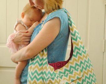Gold and Teal Chevron Diaper bag
