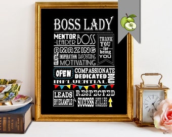 Boss Day, appreciation gift, Boss lady,  female gift, boss manager,  boss week,  thank you boss,  Typographic,  DIY printable, retirement