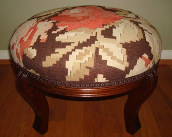 SOLD Vintage Boho Upcycled Footstool with Bessarabian Style Vintage Tapestry