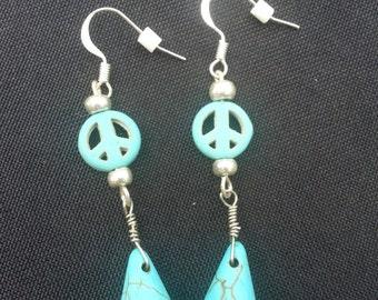 EARRINGS: Turquoise Peace Signs with Tear Drop Earrings