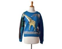 Panda Sweater, Giraffe Sweater Monkey Sweater Womens Sweater, Endgangered Species, Zebras Sweater, Vintage Clothing Sweaters Jumper Pullover