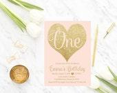 Girl Birthday Invitation Printable, Pink and Gold, Girl Birthday Invite, PDF, Template, Digital, 1st Birthday Party, diy, first birthday