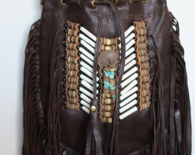 N47M- Medium Dark Brown Indian leather Handbag, Native American Style bag. Crossbody bag. Boho Bag