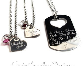 Personalized Father Daughter Necklace Set