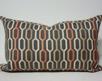 12x20 Lumbar pillow cover, Sunbrella Carnegie Camden lumbar Pillow, midcentury modern pillow , brown pillow cover