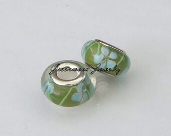 Beautiful European Style Bead Charm for European Bracelet, Handpainted Murano Glass, Silver Cores, Lime-Green-Grass-Blue Flowers