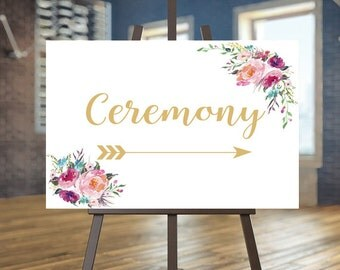 Printable Wedding Ceremony sign, Floral Directional sign, Coral flowers Reception sign, Gold Directional sign Boho wedding, Arrow sign Laura